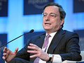 Draghi Mario Sitting Speaking Mic