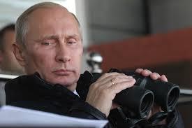 Putin w large binoculars