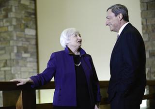 Yellen w Draghi Jackson Hole 2014